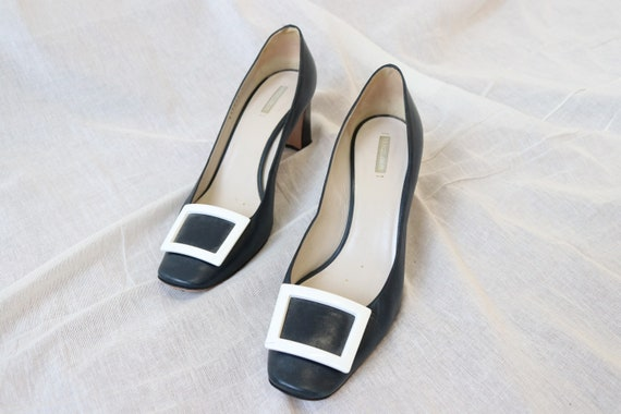 Amarni Navy Heeled Court shoes block heel and squ… - image 5