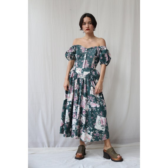 Cotton Floral boned Corset puff sleeve off the sho