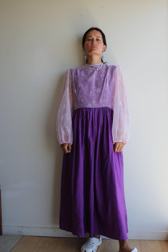 True Vintage Lavender Purple Pastel Prairie Gown - image 6