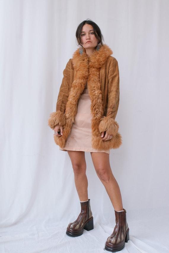True Vintage 70s Penny Lane Suede and Real Fur Afg