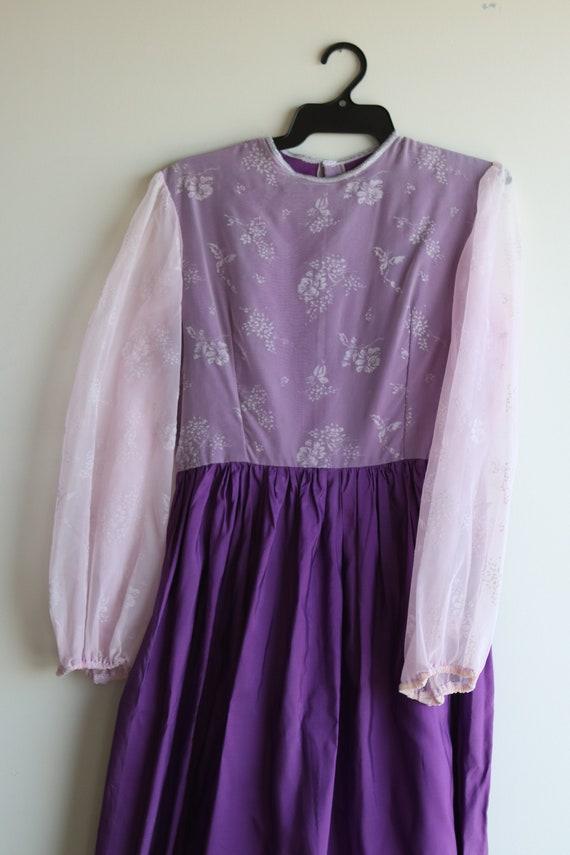 True Vintage Lavender Purple Pastel Prairie Gown - image 4
