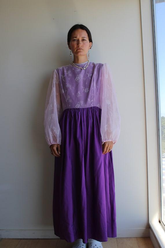 True Vintage Lavender Purple Pastel Prairie Gown - image 5
