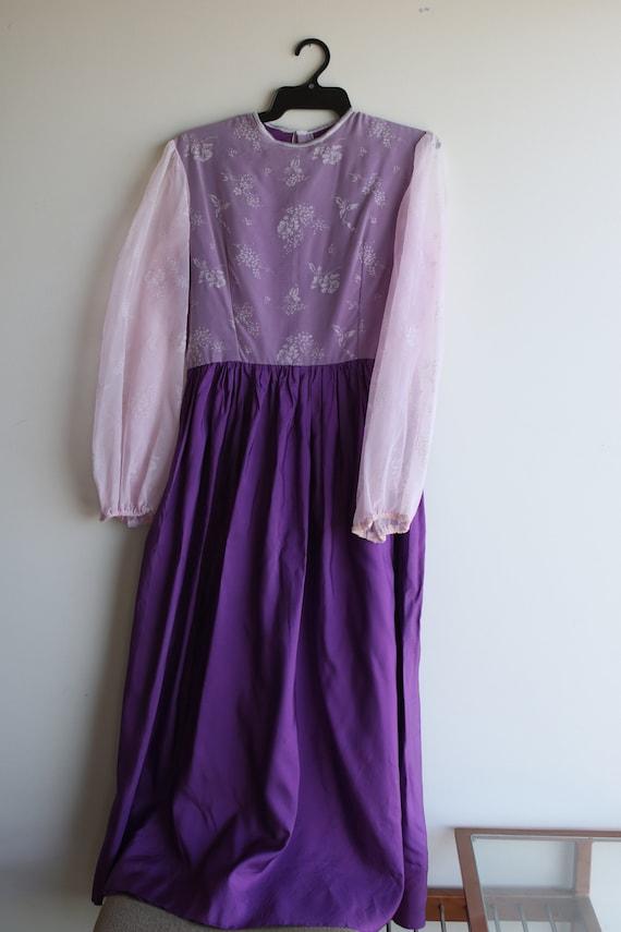 True Vintage Lavender Purple Pastel Prairie Gown - image 1