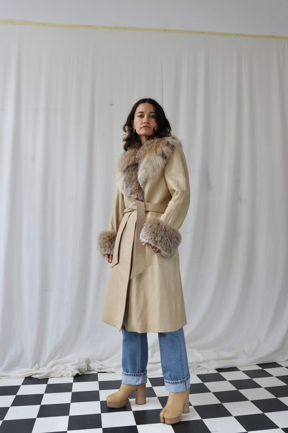 Beige Penny Lane Leather and fur coat