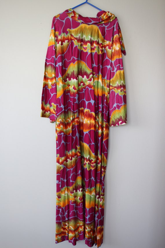1960s psychedelic Purple Print Gown