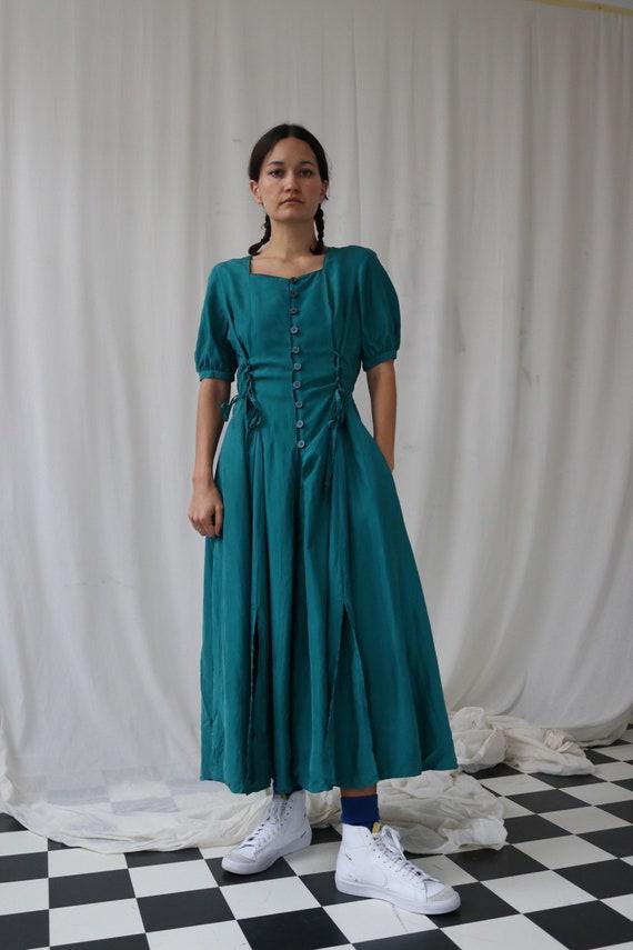True vintage Teal Silk Corset Shirt Dress