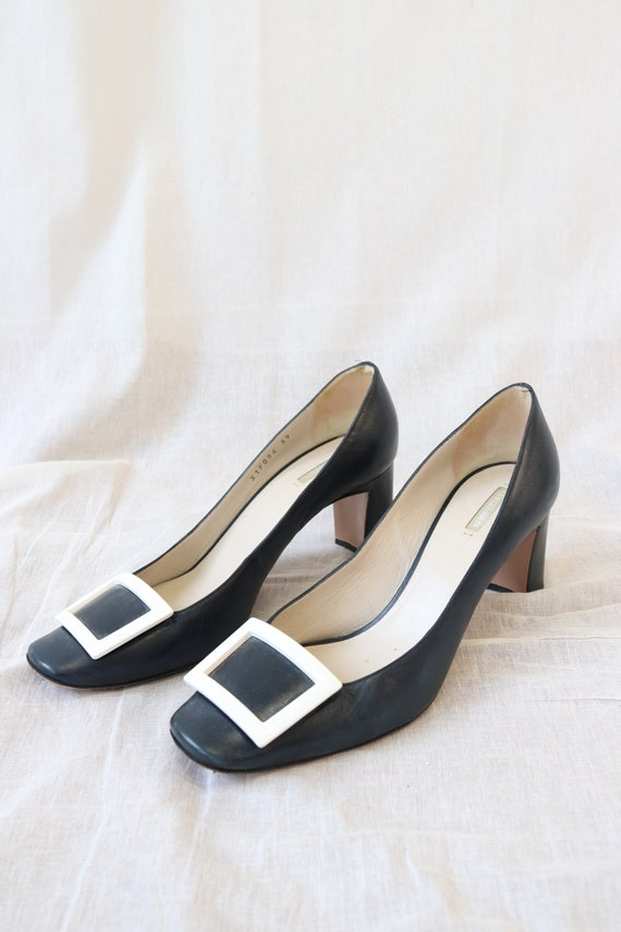 Amarni Navy Heeled Court shoes block heel and squ… - image 3