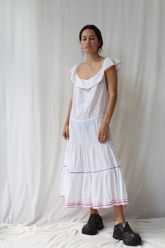 White Ruffled Prairie Dress M-L