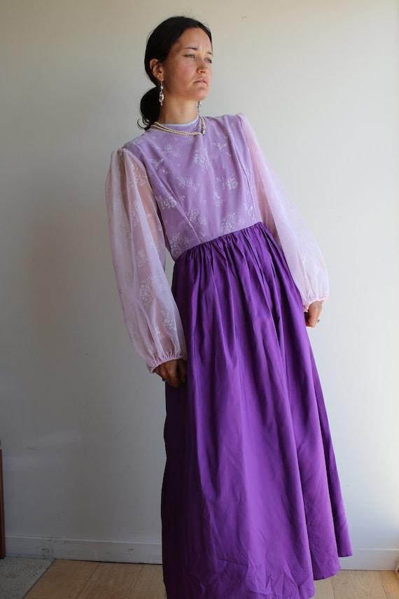True Vintage Lavender Purple Pastel Prairie Gown - image 2