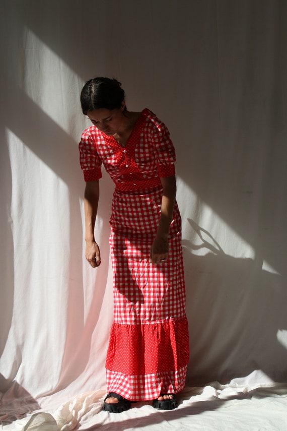 True vintage Prairie Dress Red Gingham Italian Tab