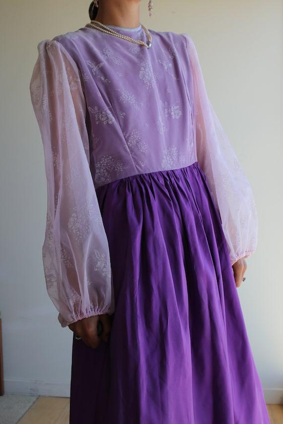 True Vintage Lavender Purple Pastel Prairie Gown - image 7