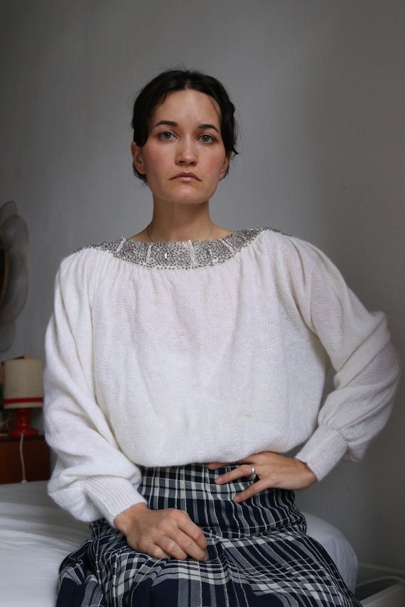 True Vintage White Real Mohair Puff Sleeve Beaded… - image 2