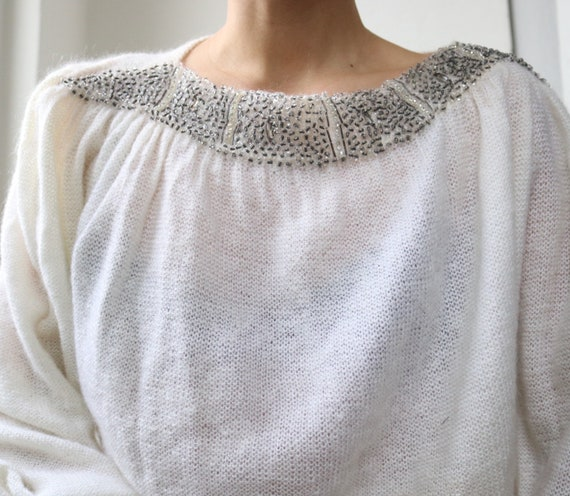 True Vintage White Real Mohair Puff Sleeve Beaded… - image 6