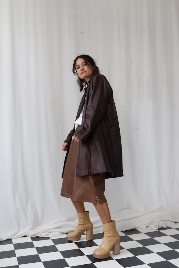 Fabulous Caramel Brown Leather Culottes Shorts wit