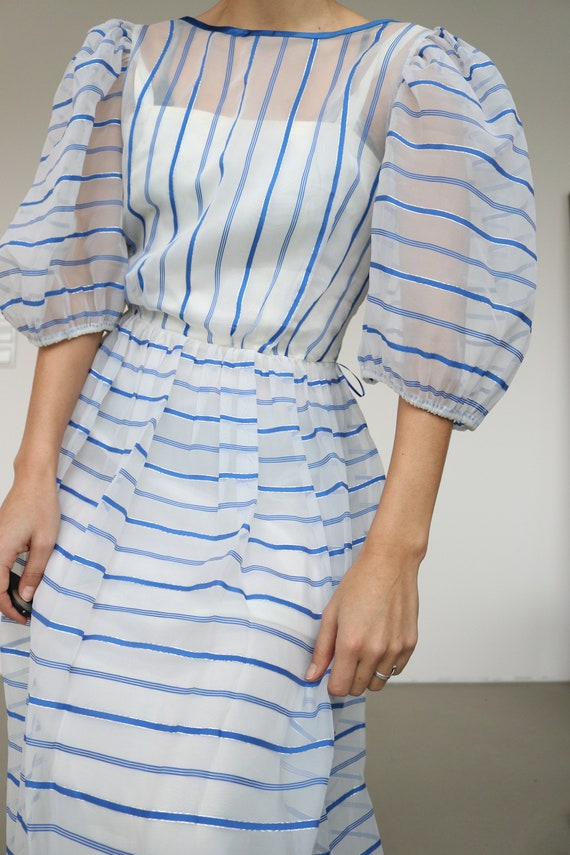 Sheer white and blue stripe Organza puff dress