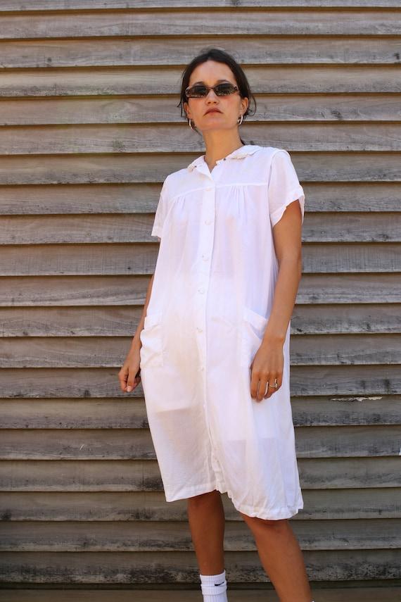 Softest Vintage Cotton White shirt dress