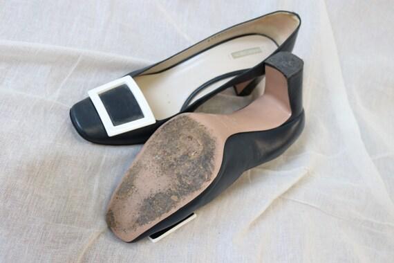Amarni Navy Heeled Court shoes block heel and squ… - image 6