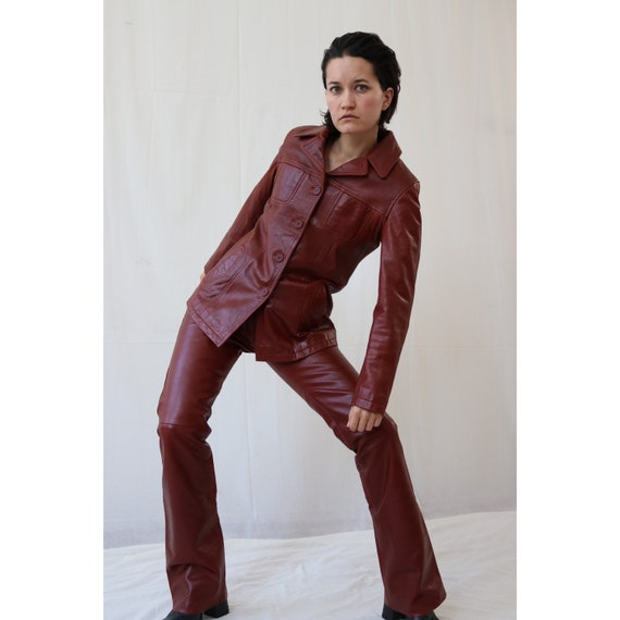 70s red leather trouser suit