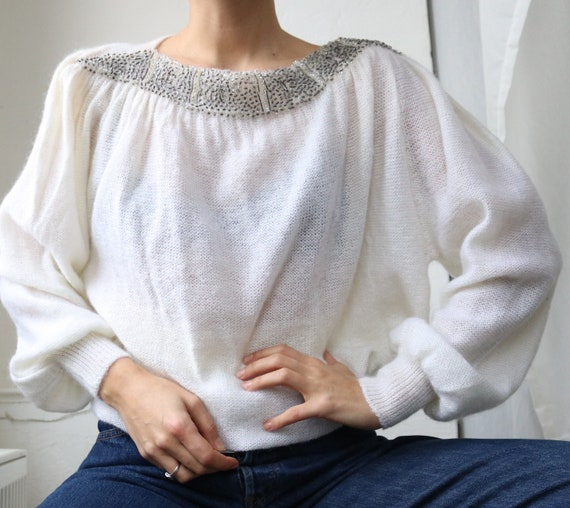 True Vintage White Real Mohair Puff Sleeve Beaded… - image 8