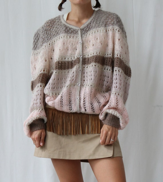 Vintage Baby Pink and Brown Striped  Mohair Knitte