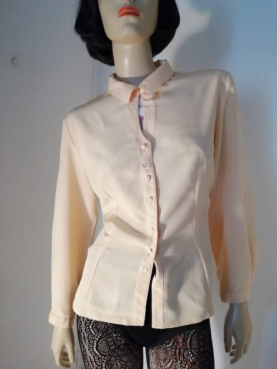 Vintage 80s French secretary blouse size FR42/UK 1