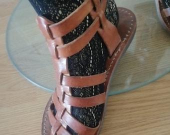 Vintage 1970s handmade real leather Buckle /Gladiator size 5 UK /EU 38 Sandals