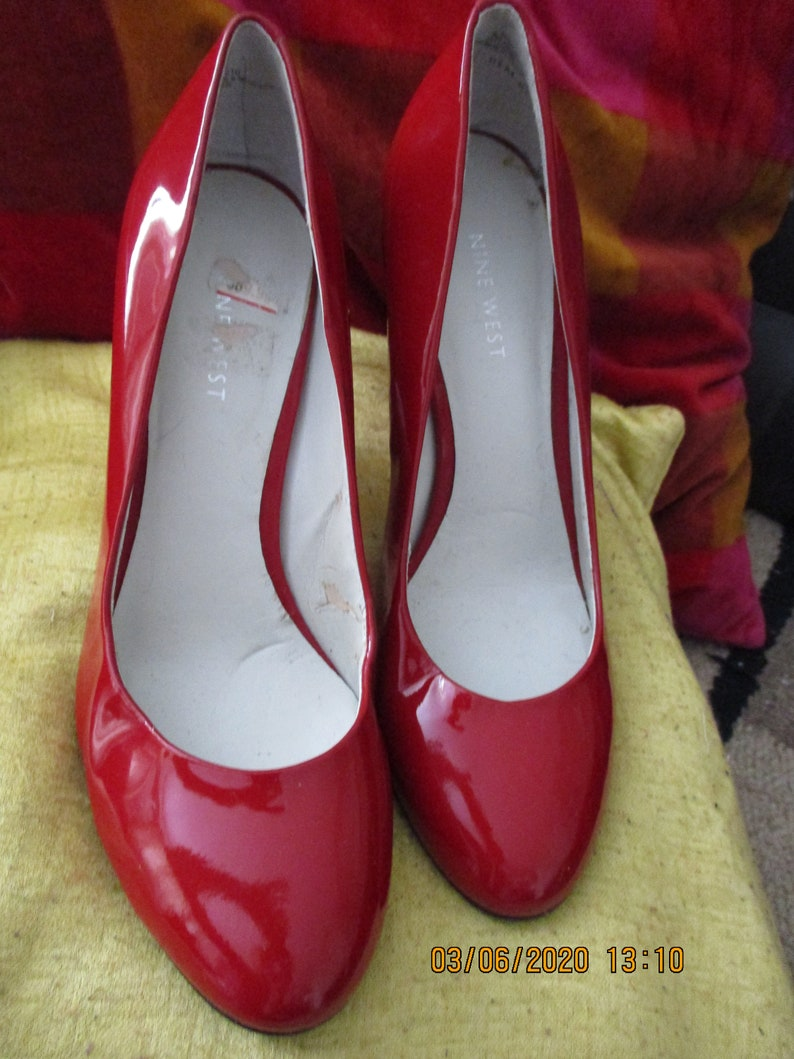 Vintage 1990S Red Dolly Shoes By Nine West Size Uk 6