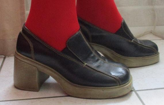 Vintage 1970S Platform Black Leather Shoes Size 7/