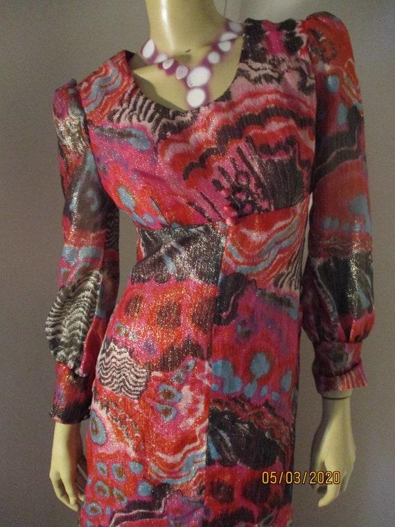 Vintage 1970S Maxi Psychedelic Metallic Dress Size