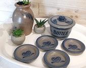 Vintage 1990 Rowe Pottery collection butter crock tea bag rests butter pat dishes Flower vase Handmade stoneware blue hearts farmhouse decor