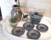 Vintage 1990 Rowe Pottery collection set butter crock Small butter pat dishes Flower vase Handmade stoneware blue hearts farmhouse decor