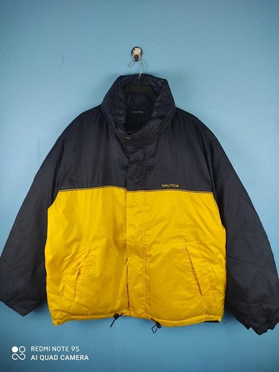 Nautica Reversible Yellow Blue Down Puffer Jacket