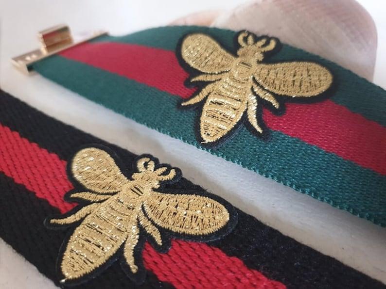 Embroidery Bee Stripe Cotton Cuff Bracelet