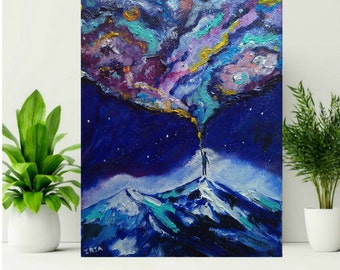 Universe Painting Original Oil Painting On Stretched Canvas Galaxy Painting Space Creator Man Art Visionary Art Spiritual Art Awakening Art