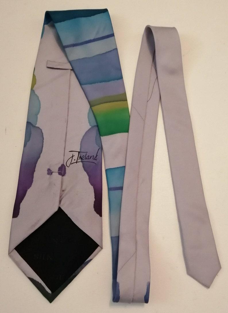 Blue Purple Watercolour Wash Striped Design 100/% Silk Tie Vintage Men/'s Fashion Original Vintage 1980/'s Jane Ireland Silver Bright Green