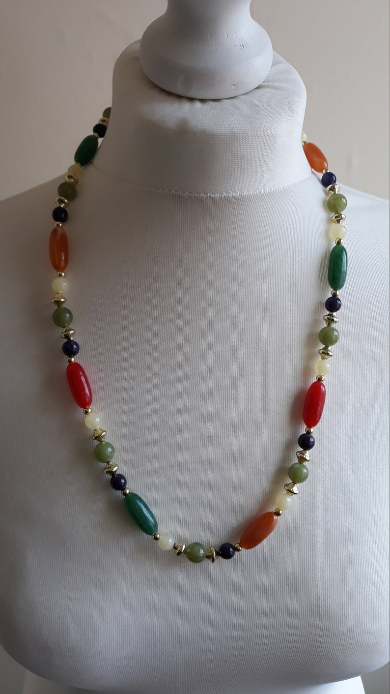 Stunning Original Vintage 1980s  Multicoloured And Gold Plastic Beaded Necklace With Lobster Clasp Womens Vintage Jewellery festival chic