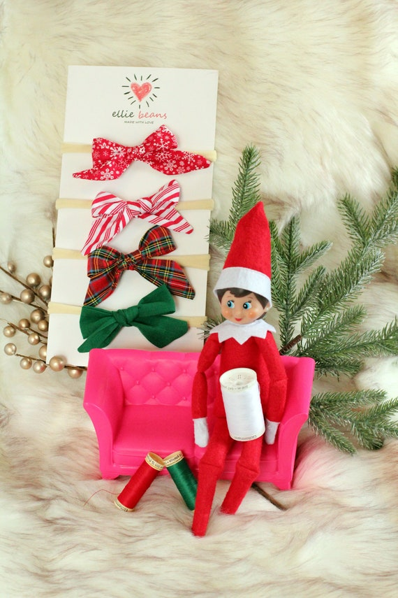 Christmas Xmas Baby Girl Headband Hairband Red Glitter Bow Rhinestone Bow
