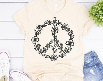 Wildflower peace sign svg, hippie svg,  peace symbol svg, t-shirt design svg