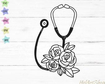 Stethoscope svg, Floral Stethoscope svg, Nurse svg