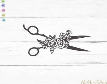Scissors with flowers svg, sewing svg, hair stylist svg, hobby svg