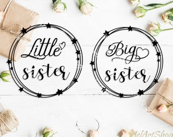 Big Sister svg,  Little sister svg, Baby onesie svg