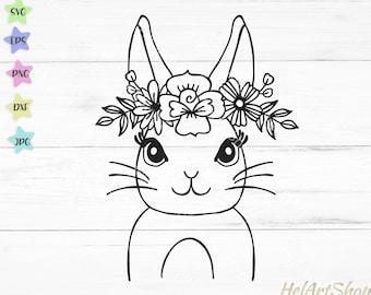 Rabbit Svg, Easter Bunny svg, Floral rabbit svg, Bunny face svg