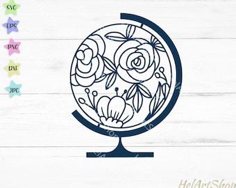 Floral Globe svg, Travel svg, Teacher svg