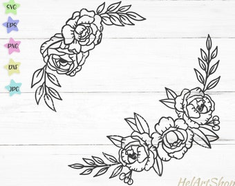 Floral border svg file, Flower border svg, floral swag svg,  Floral arrangement svg, flowers svg cut file, silhouette cricut png vector