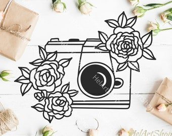 Floral camera svg, camera svg, camera decal, photo camera svg, photographer svg, camera cute file, camera with flowers