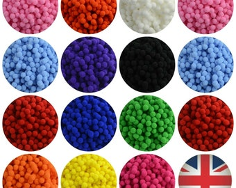 150 Tinsel Pompoms Mixed POM POMS For Arts And Crafts 20mm Festive Xmas Colours