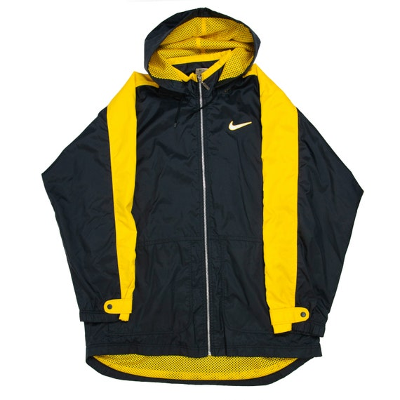 Vintage Nike Big Swoosh Long Jacket XL Black Yello
