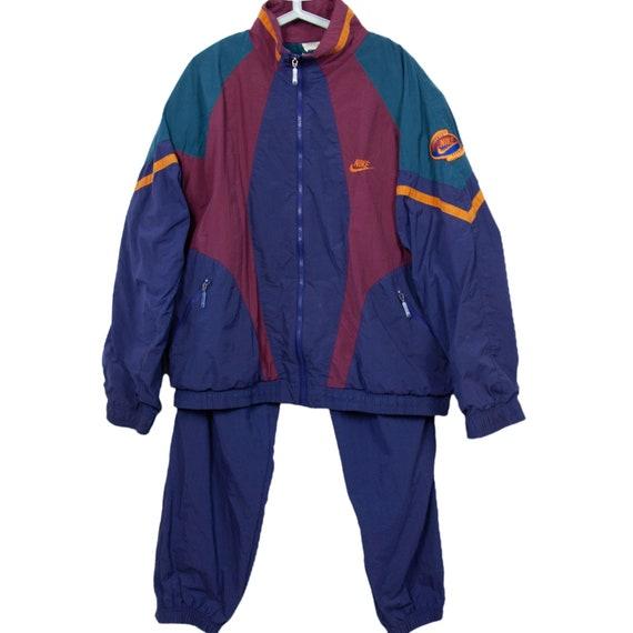 Vintage 90s 80s Nike Track Suit Top Pant Multicolo