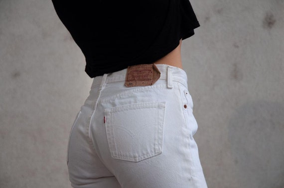 90s 80s Vintage White Denim Levi's 501 High Waiste