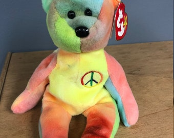 d8d8fb7da21 Ultra RARE!!!! Beanie babies PEACE and BLACKIE with many errors in  excellent condition.